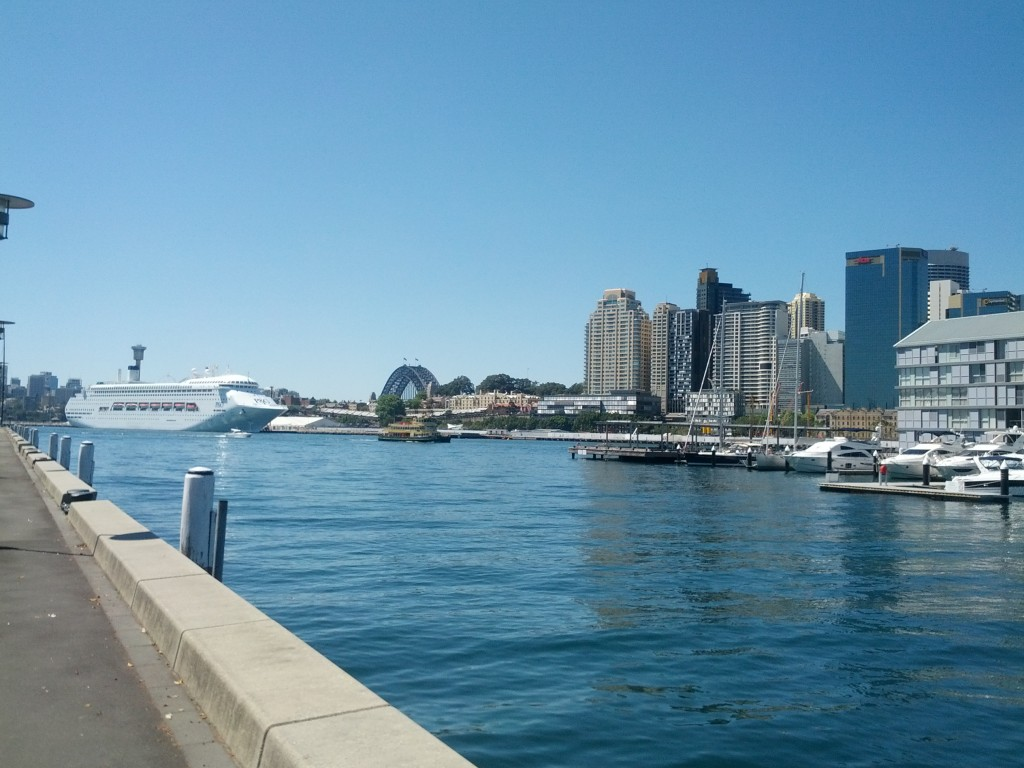 View out from Pyrmont towards the Harbour Bridge.