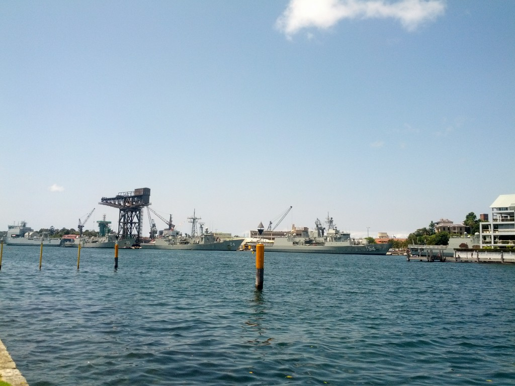Sydney's military port - I really want to find out what they use that massively bulky crane to lift - tanks maybe?