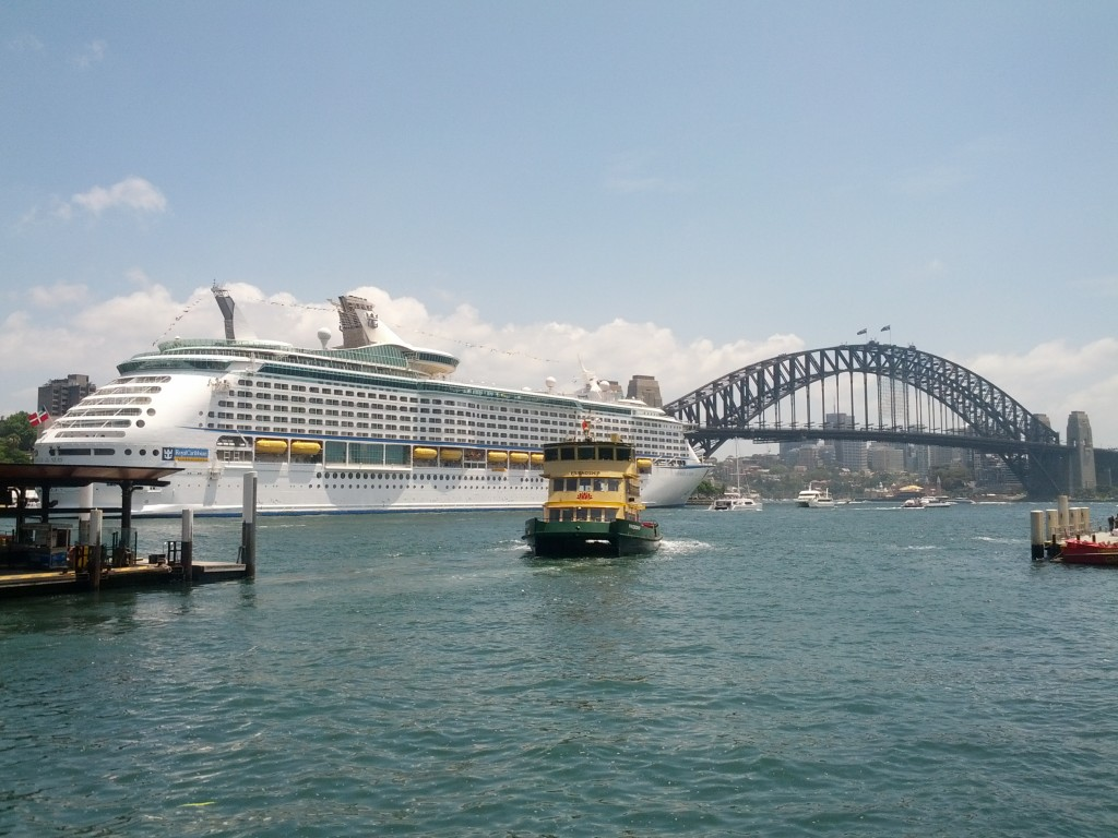 One of the smaller ferries comes in to dock at Circular Quay.