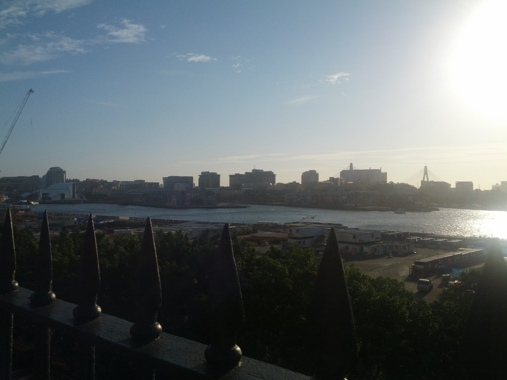 Looking out towards Pyrmont as the sun sets.