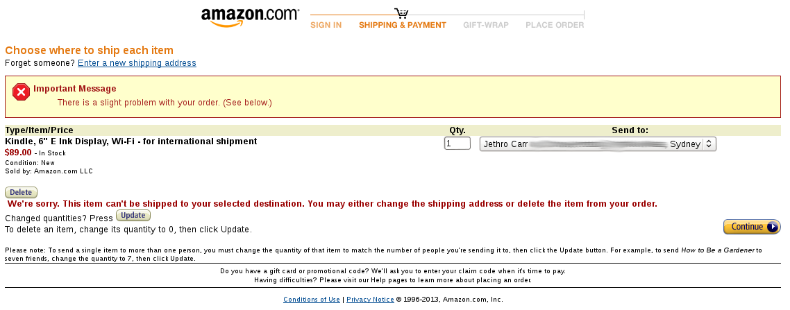 Hi Amazon, I have a bug report for you...