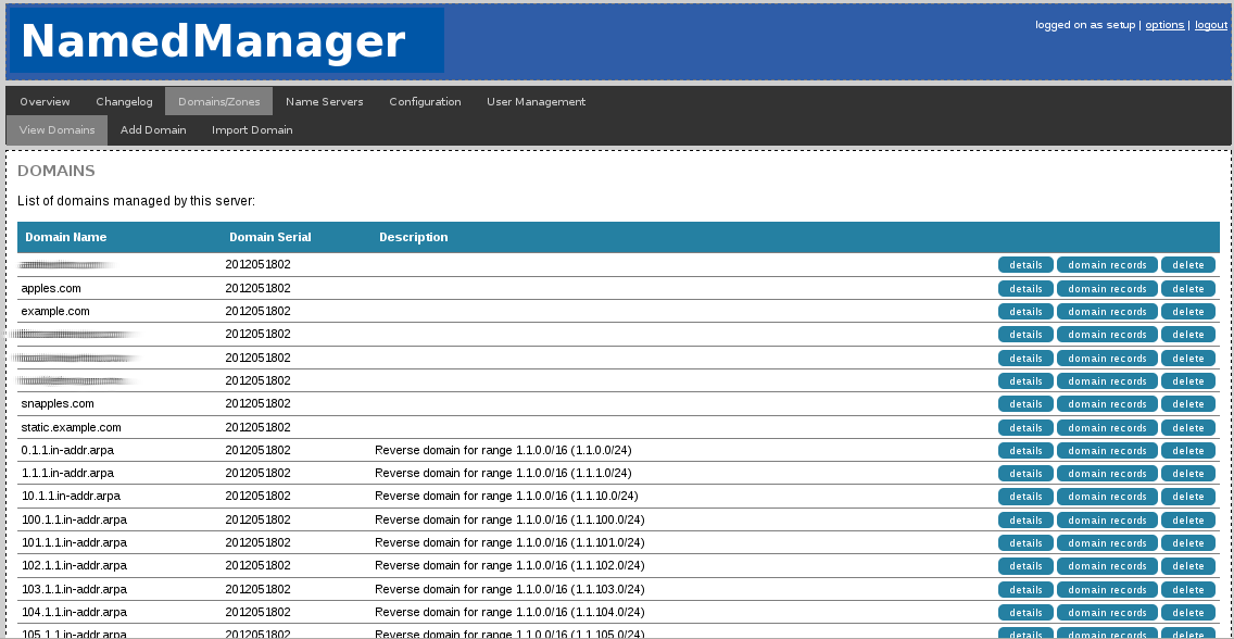 View of all the domains active on this DNS cluster with NamedManager.