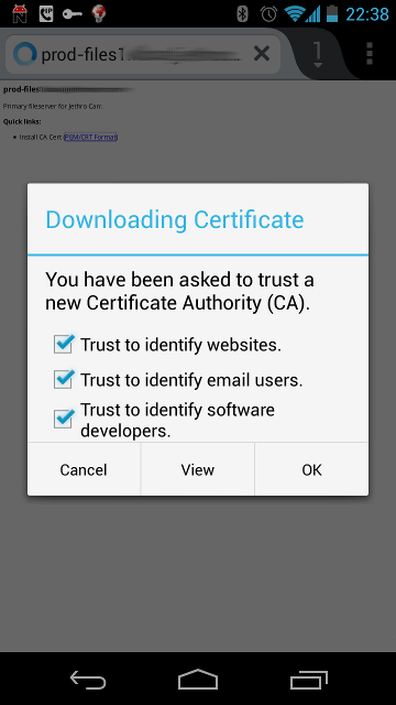 Installing CAs into Firefox Mobile (PEM formatted file).