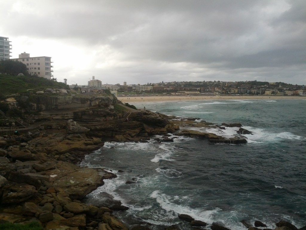 Looking back at Bondi beach.