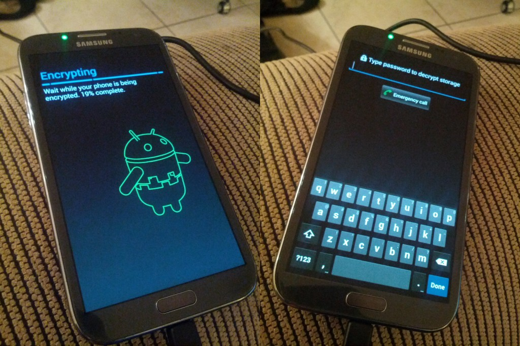 Android phone undergoing encryption; and subsequent boot with encryption enabled.