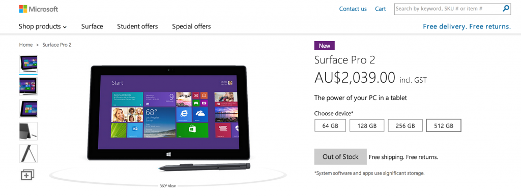 All models of Surface Pro 2, out of stock on AU online store.